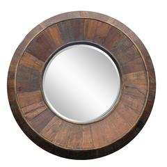 Andrea Mirror, Natural Rustic Wood Finish, Beveled Mirror