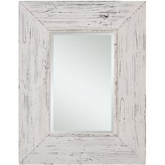 Wilkes Mirror, Distressed White Finish, Beveled Mirror