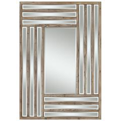 Cooper Classics Shelby Mirror, Light Natural Rustic Wood Finish, Beveled Mirror