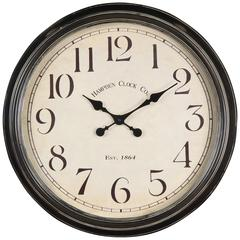 Whitley Clock, Aged Black Finish, Under Glass