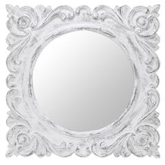 Margate Mirror, White Distressed Finish