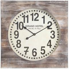 Augusta Clock, Distressed White Wash Finish, Under Glass