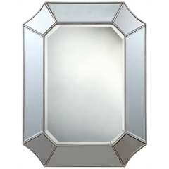 Cooper Classics Nelson Mirror, Silver Finish with Red Accents, Beveled Mirror