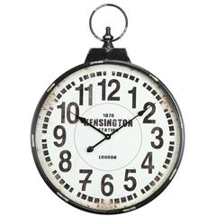 Parker Clock, Distressed Black Finish, Under Glass