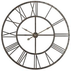 Upton Clock, Aged Steel Finish with Black Highlights