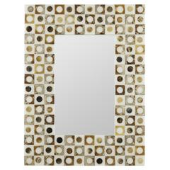 Kingsley Mirror, Amber, White and Gold Finish, Repurposed Sea Shells
