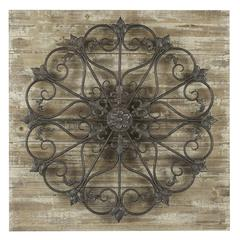 Cooper Classics Deville Wall Hanging, Whitewash and Bronze Finish