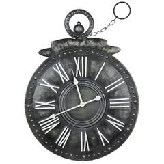 Cooper Classics Holbrook Clock, Distressed Gray Metal Finish