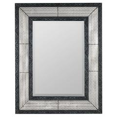 Cooper Classics Dearborn Mirror, Distressed Verdigris Finish with Black Highlights, Beveled Mirror