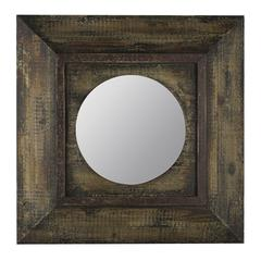 Davenport Mirror, Distressed Brown Finish