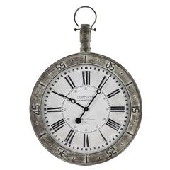 Bolton Clock, Metal Distressed Cream Finish, Under Glass