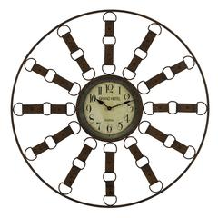 Thurston Clock, Metal Distressed Brown Finish, Under Glass