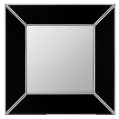 Rushford Mirror, Black and Silver Finish, Beveled Mirror