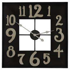 Cooper Classics Brazos Clock, Black Metal and Antique Silver Finish