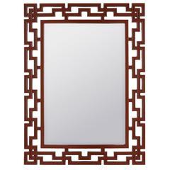 Glenarden Mirror, Glossy Red Finish, Beveled Mirror