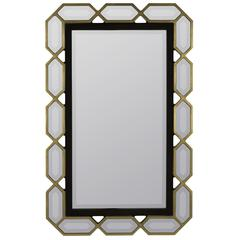 Aras Mirror, Black and Gold Finish, Beveled Mirror