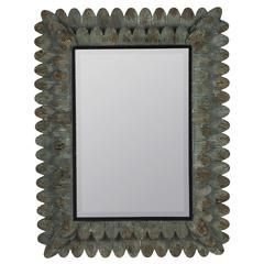 Chagall Mirror, Aged Brown Metal Finish with Sea Green Undertone, Beveled Mirror