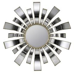 Teasel Mirror, Aged Silver and Mirrored Finish, Beveled Mirror