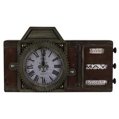 Cooper Classics Volga Clock, Antique Distressed Red with Aged Brass and Black Undertones, Under Glass