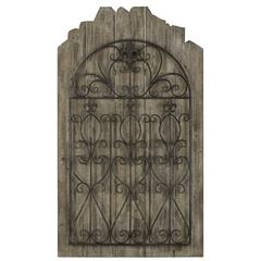Cooper Classics Cumberland Wall Hanging, Weathered Brown Wood Finish with Distressed Black Metal