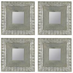 Cooper Classics Kynzlee Mirrors- Set of 4, Aged Blue and Silver Finish