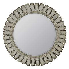 Tagus Mirror, Distressed Off White Finish, Beveled Mirror