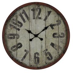 Cooper Classics Oleshia Clock, Aged Red Finish with Black Undertones, Under Glass