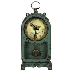 Ruslana Table Clock, Aged Green Finish with Rusted Brown Undertones, Under Glass