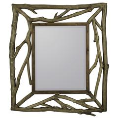 Annabelle Mirror, Rustic Natural Wood Finish, Beveled Mirror, Size may vary slightly due to stick sizes