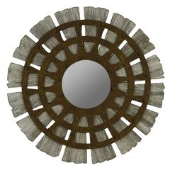 Cooper Classics Zhubin Mirror, Gray Wash Finish with Rusted Metal Overlay