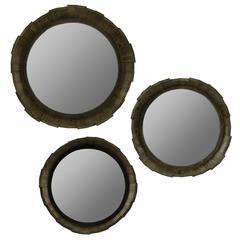 Dastan Mirrors- Set of 3, Rustic Brown Wood Finish