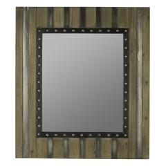 Phoenix Mirror, Light Brown Finish with Gray and Silver Metal Overlays
