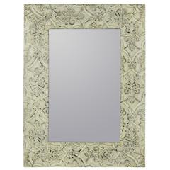 Lance Mirror, Aged Cream Finish with Black Undertones
