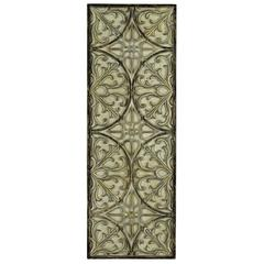 Gable Wall Hanging, Aged Cream Finish with Pale Blue, Black and Gold Undertones, Finish Will Vary