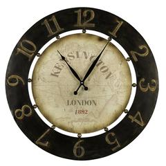 Cooper Classics Atish Clock, Dark Brown Finish with Aged Gold Highlights