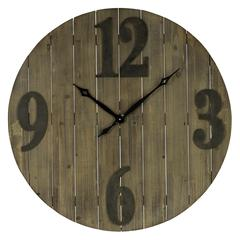 Cooper Classics Mahdis Clock, Light Brown Wood Finish with Worn Gray Numbers