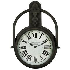 Paulette Clock, Brown Finish with Rustic Red Undertones, Under Glass