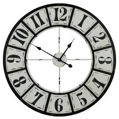 Bianca Clock, Black and Distressed White Finish
