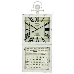 Jarron Clock, Off White Finish with Black Undertones, Under Glass