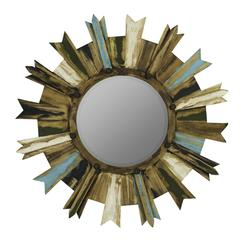 Shiva Mirror, Painted Natural Wood Finish with Black, Green, Light Blue and White Highlights, Beveled Mirror, Finish Will Vary