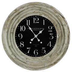 Cooper Classics Mayflower Clock, White Washed Finish, Under Glass