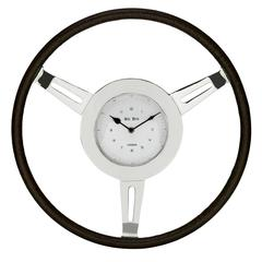 Cooper Classics Oliver Clock, Silver and Aged Genuine Leather Finish, Under Glass