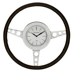 Cooper Classics Nathaniel Clock, Silver and Aged Genuine Leather Finish, Under Glass