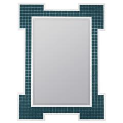 Sanabel Mirror, Turquoise Finish with High Gloss White Frame, Beveled Mirror