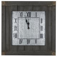 Rutledge Clock, Gray Washed Wood Finish with a Galvanized Metal Face, Under Glass