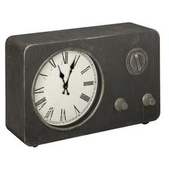 Norman Table Clock, Worn Gray Metal Finish, Under Glass