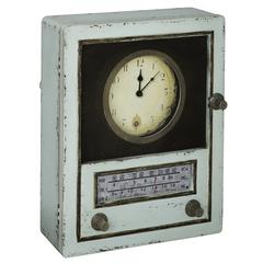 Tradd Clock, Light Sage Finish with Gray and Black Highlights, Under Glass, Opens to reveal key storage