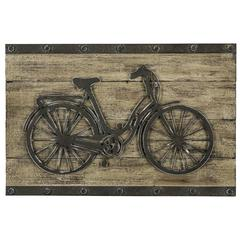 Brixton Wall Hanging, Natural Wood Finish with Aged Black Metal
