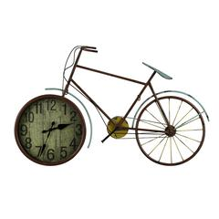 Cooper Classics Hilde Clock, Red Finish with Brown Highlights and Pale Blue and Yellow Accents, Under Glass