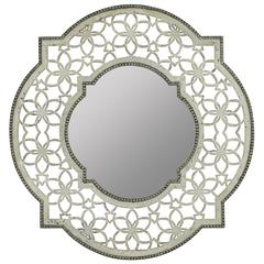 Clarkson Mirror, Antique White Finish with Silver Accents